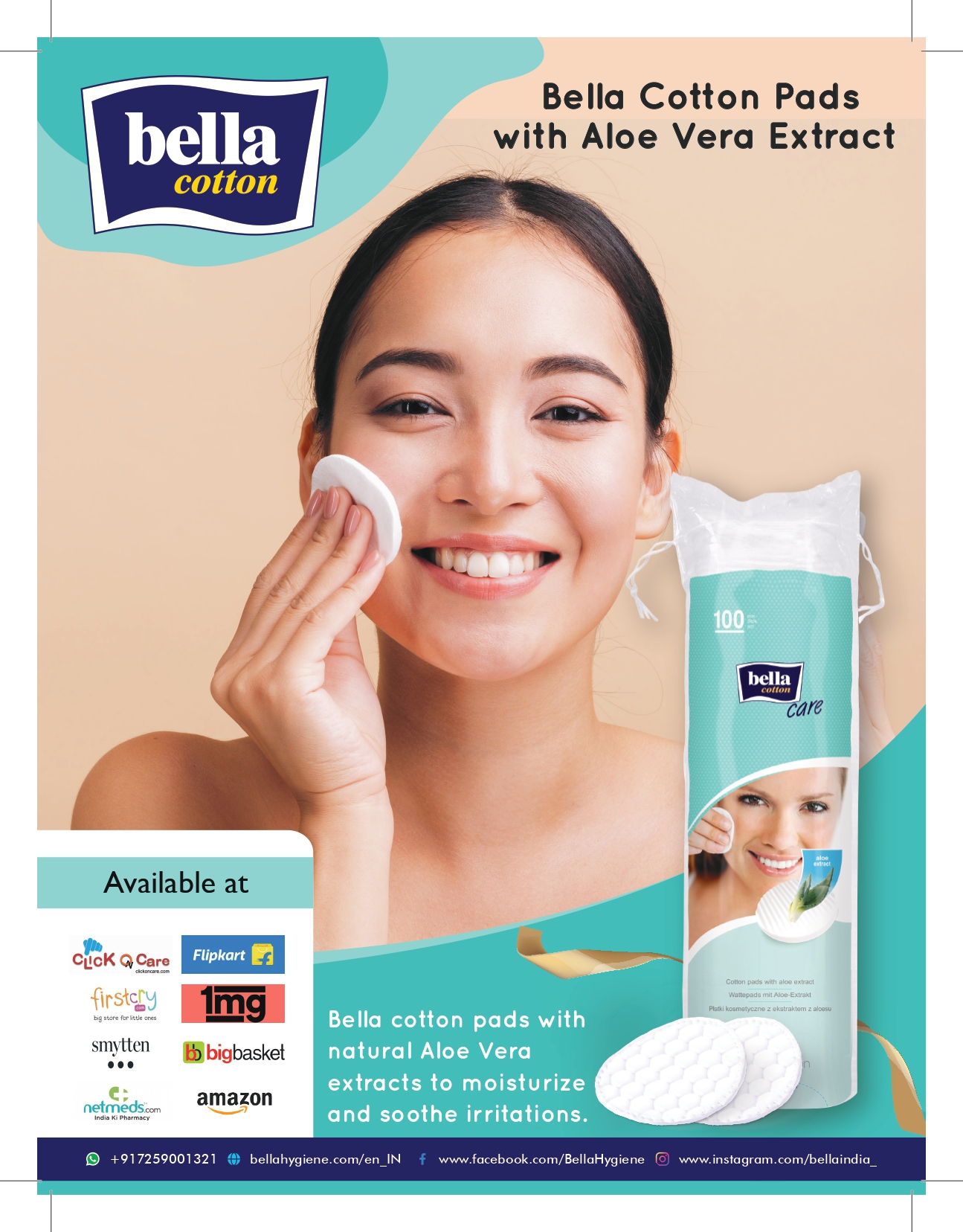 Bella Cotton Pads With Aloe Vera Extract