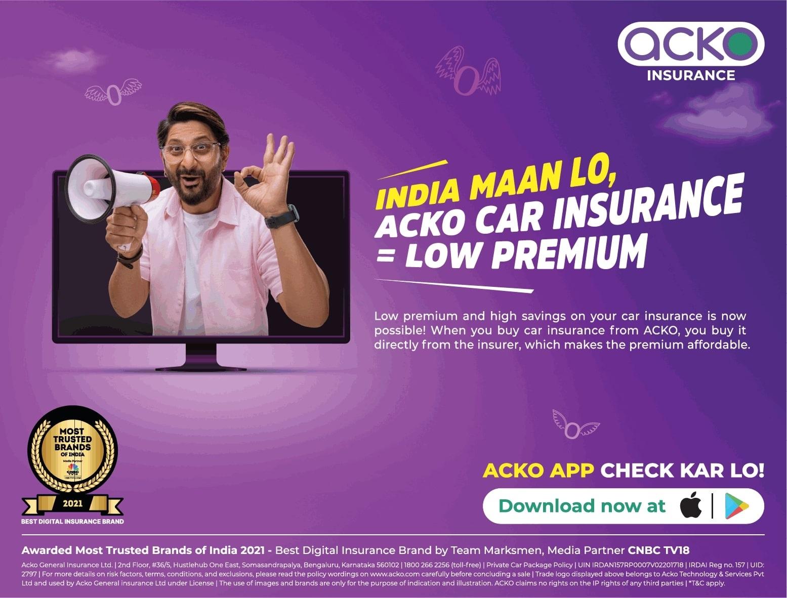 India Maan Lo Acko Car Insurance=Low Premium