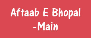 Advertising in Aftaab E Bhopal, Bhopal - Main Newspaper