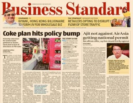 IndiGo Airlines Domestic-Business Standard Newspaper Jacket Advertising-Option 1