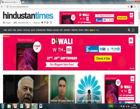 Hindustan Times, Website - RoadBlock Advertising