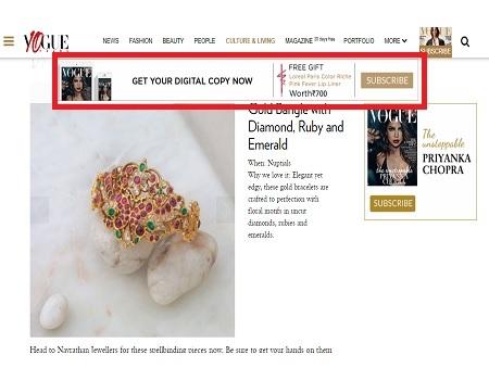 Vogue, Website - Banner Leader board Advertising Option 1