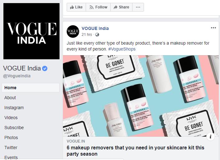 Vogue, Website - Social Media Post Advertising