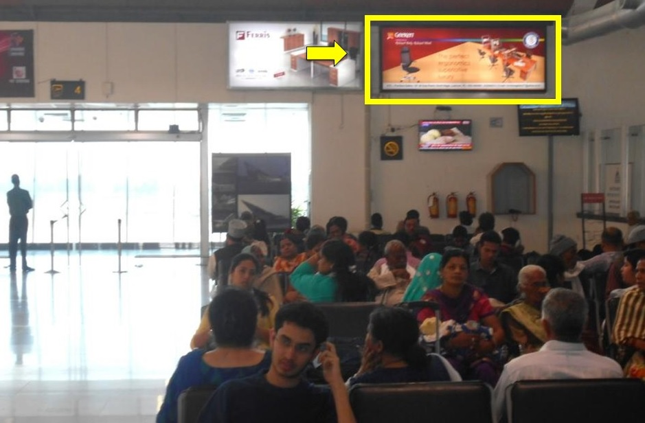 Lucknow Airport-Departure Area  Advertising-Security Hold Area - 10 x 4 ft - Panel - Above Right Side Of Gate No. 4 In Sha