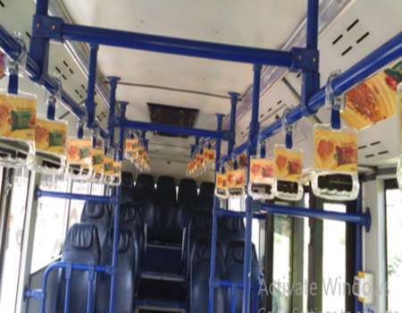 Hyderabad Airport- Tarmac Coach - Interior Advertising-Grab Handles and Static Panels