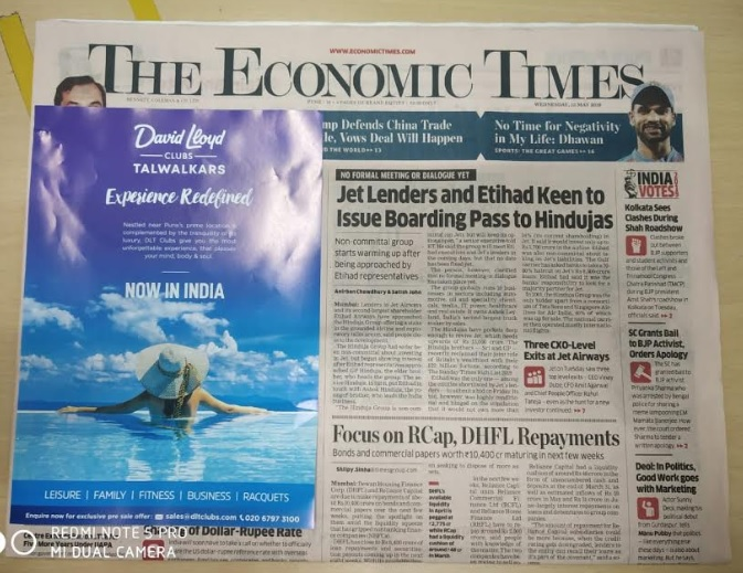 Hyderabad Airport- Newspaper Stickers - Economic Times Advertising