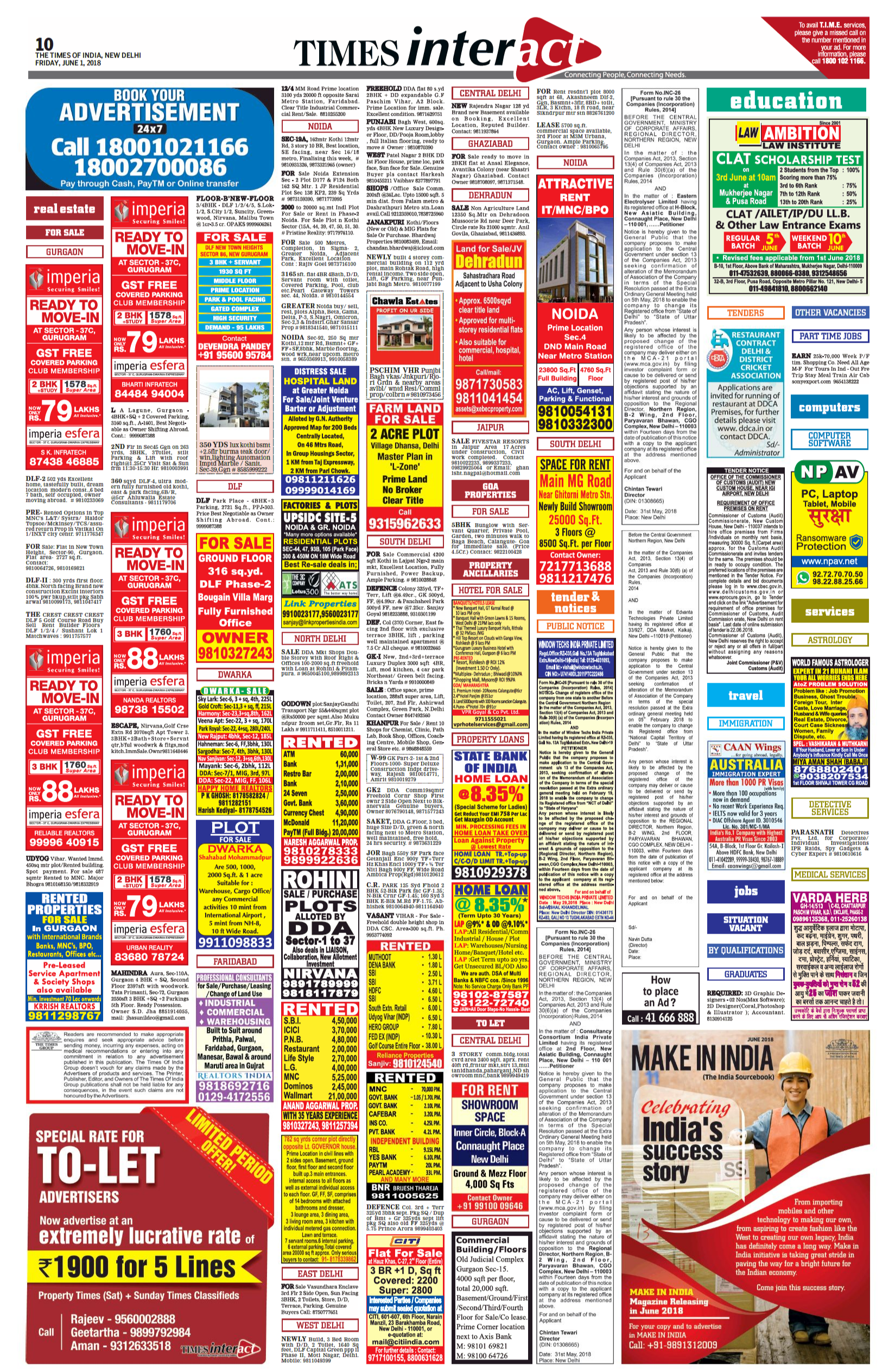 Times Of India Delhi English-Classified Advertising