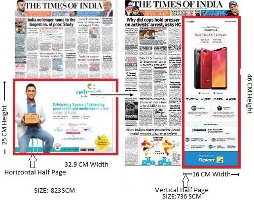 Times Of India, Bangalore Times, English Newspaper-Fixed Sized Advertising-Option 1