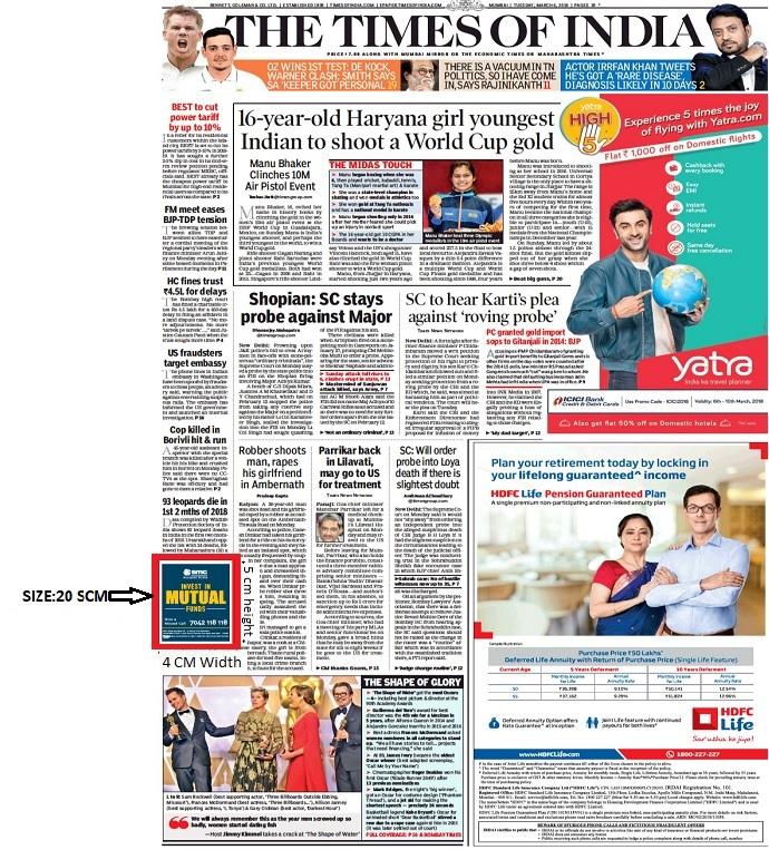 Times Of India, Bangalore Times, English Newspaper-Pointer Advertising-Option 1