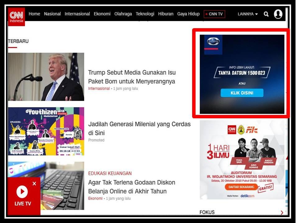 Iklan Medium rectangle di CNN Indonesia website