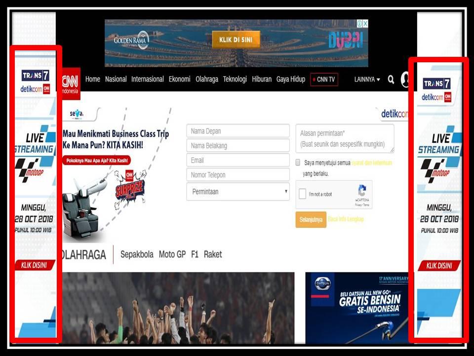 Iklan Skinning banner di CNN Indonesia