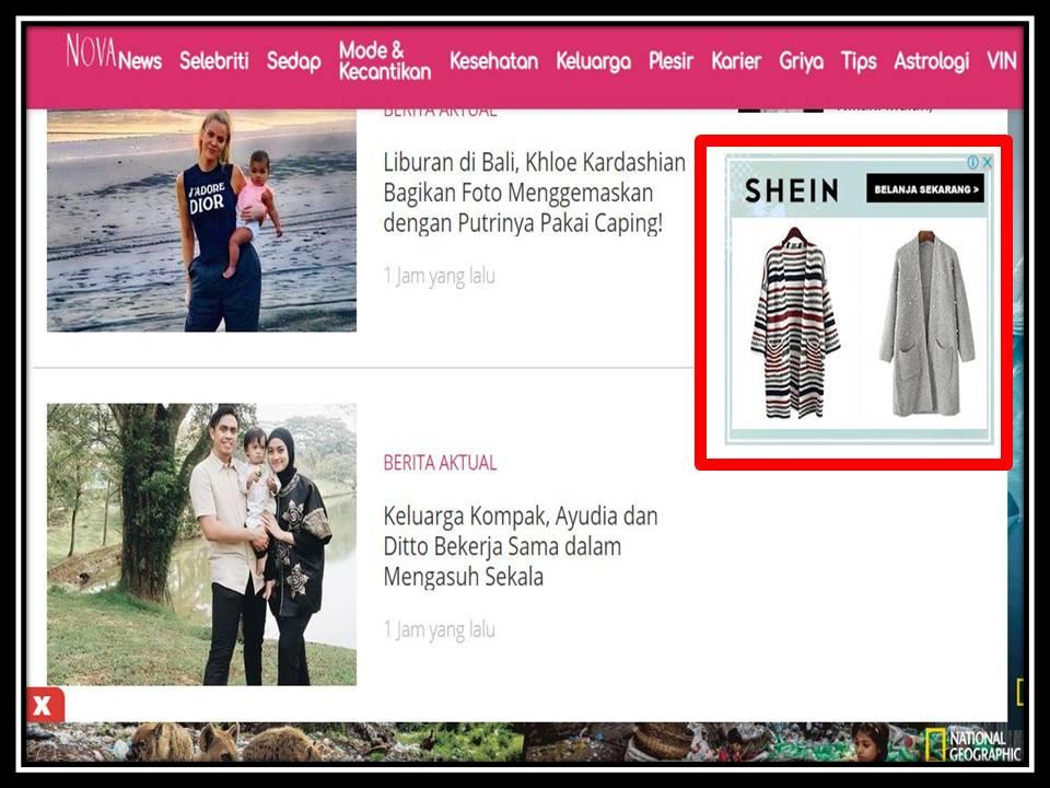 Iklan Medium rectangle banner di Nova online