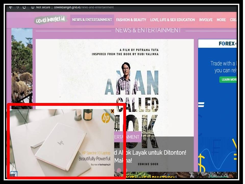 Iklan Overlay banner di Cewek banget website