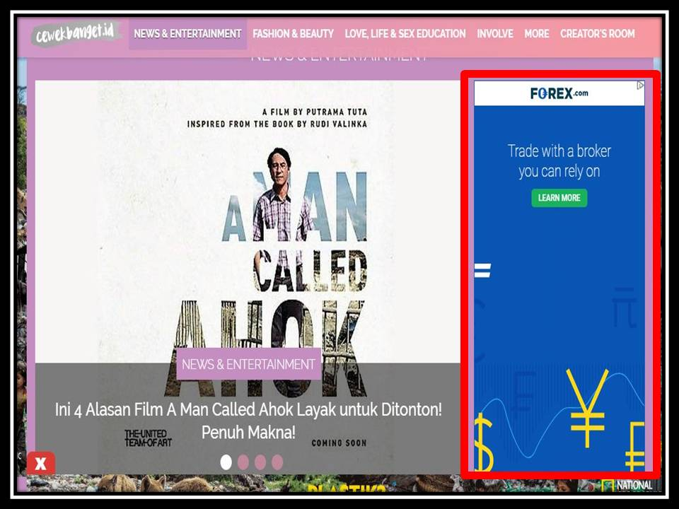 Iklan Half page banner di Cewek Banget online