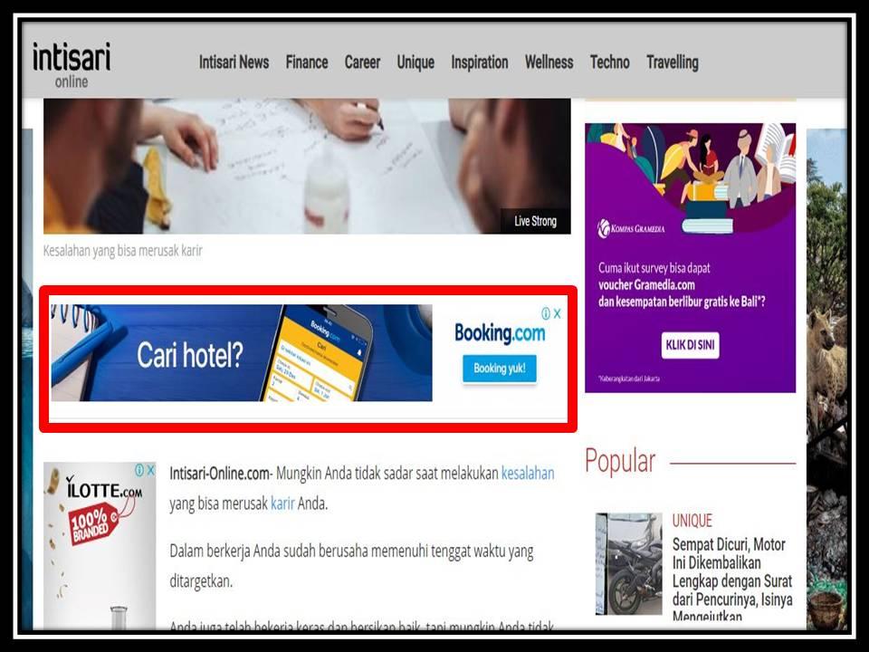 Iklan Leaderboard di Intisari online