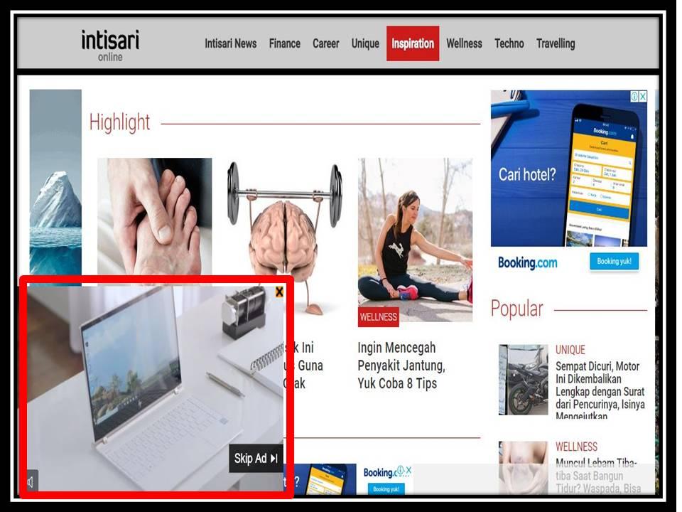 Iklan Overlay di Intisari online