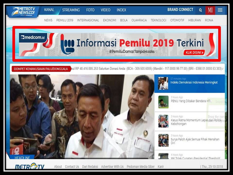 Iklan Billboard di Metro tv news website