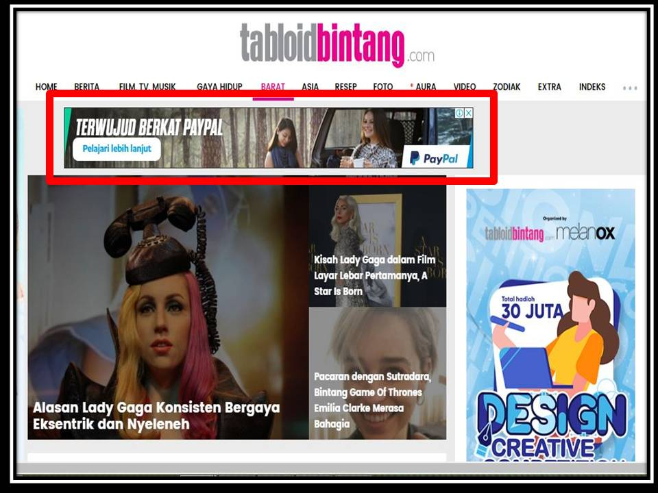 Iklan Leaderboard di Tabloid bintang