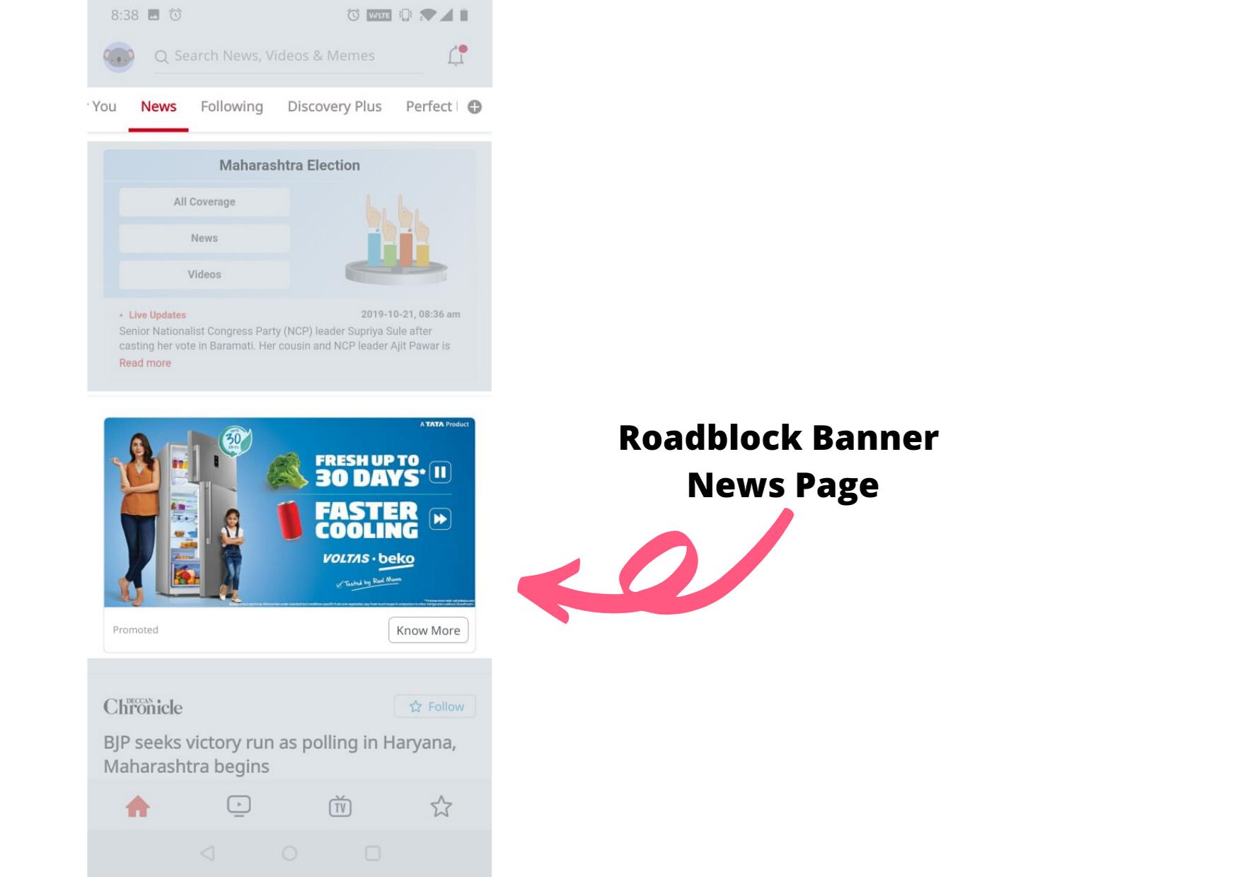 Dailyhunt-RoadBlock Advertising-Option 1