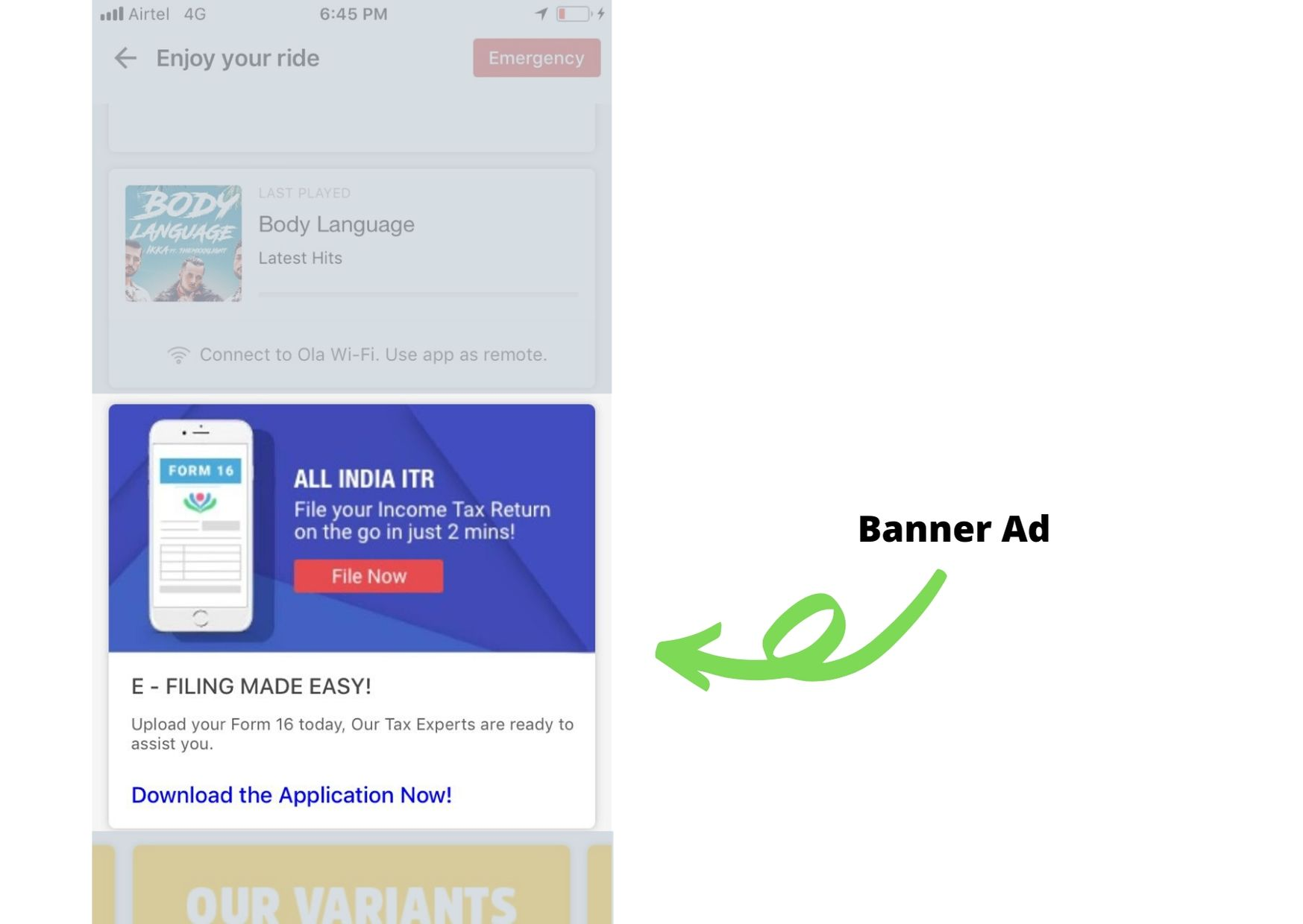 OLA, App - Banner Advertising Option 1