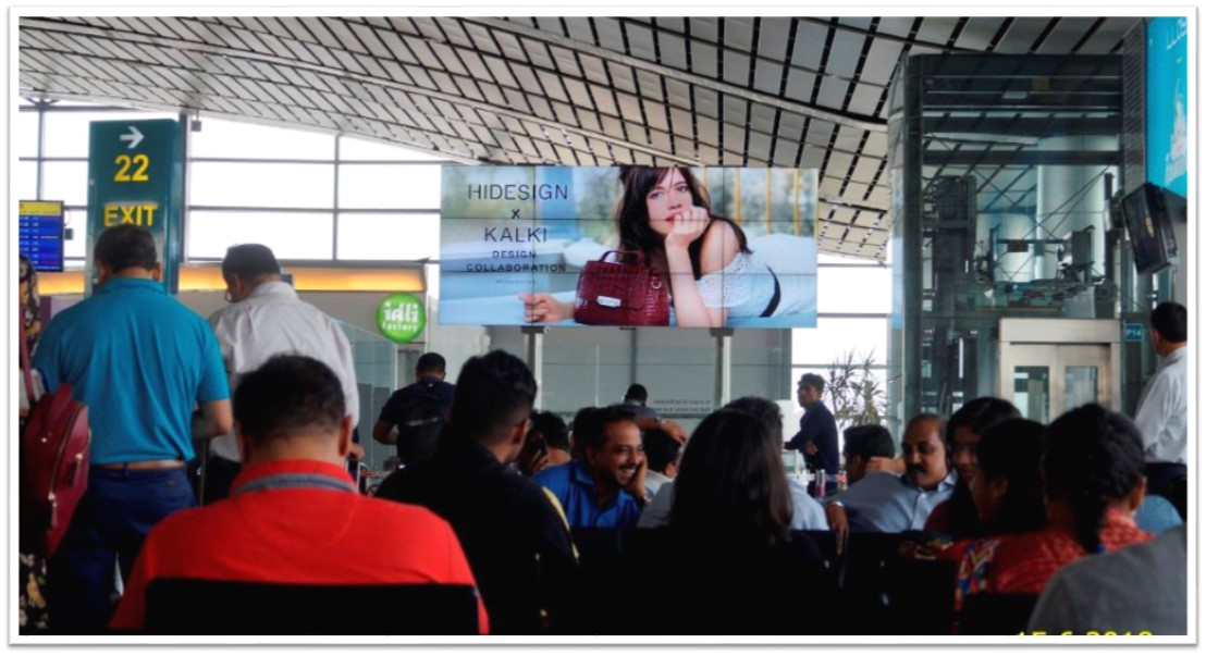 Hyderabad Airport-Digital Screen Package Advertising-Video Wall While Full Ad Is Running - Domestic & International Departures & Airport Village - 16 W x 7 H Ft.