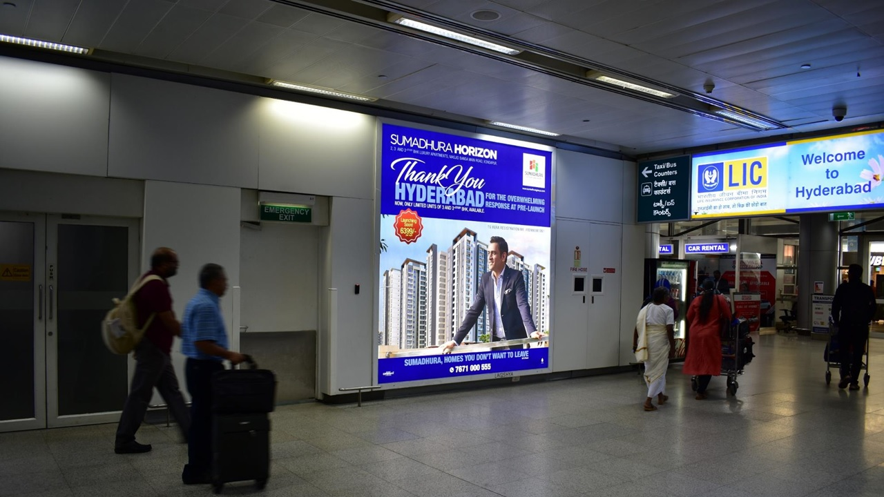 Hyderabad Airport- Arrival Area Advertising-Back Lit Panel - 10 W x 11 H Ft - Baggage Claim Area