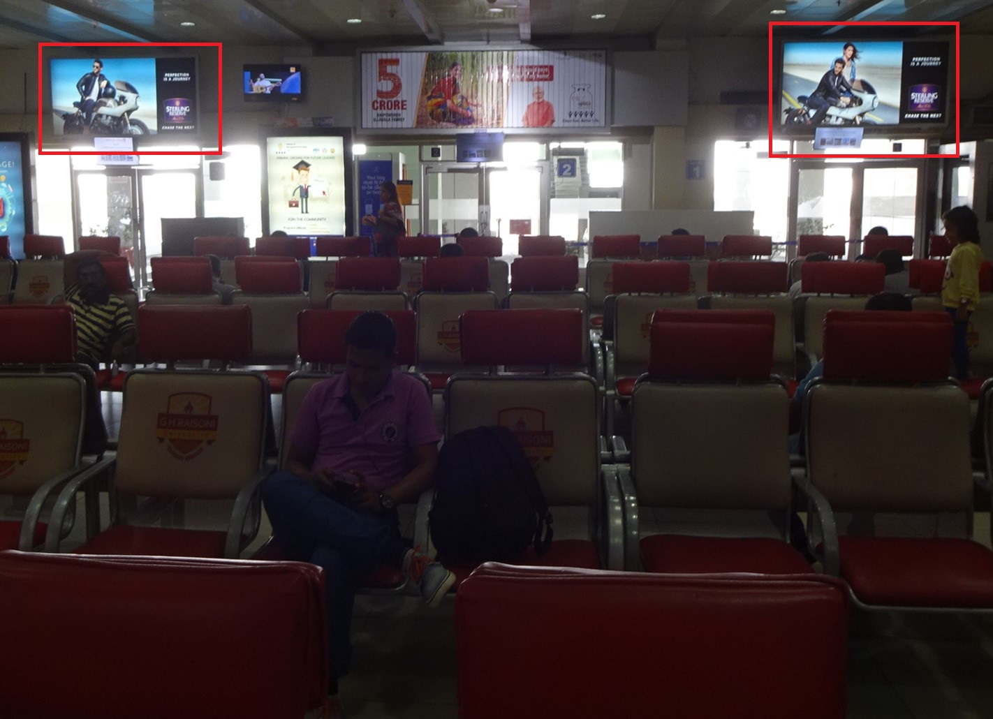 Waiting Lounge Ground Floor LHS & RHS at Departure Gates (SHA) - 8 W x 4 H Ft - 2 Units - Back Lit