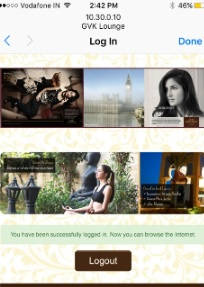 Bangalore Airport-Lounge Advertising-Wifi Starting Page