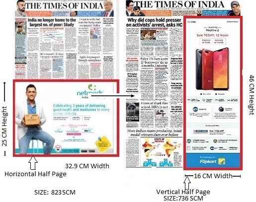 Times Of India, Delhi Times, English Newspaper - Fixed Size Advertising Option - 1