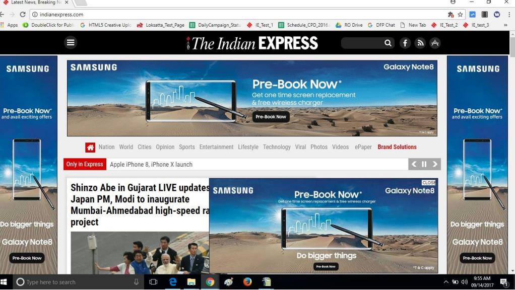 The Indian Express - RoadBlock Advertising Option 1
