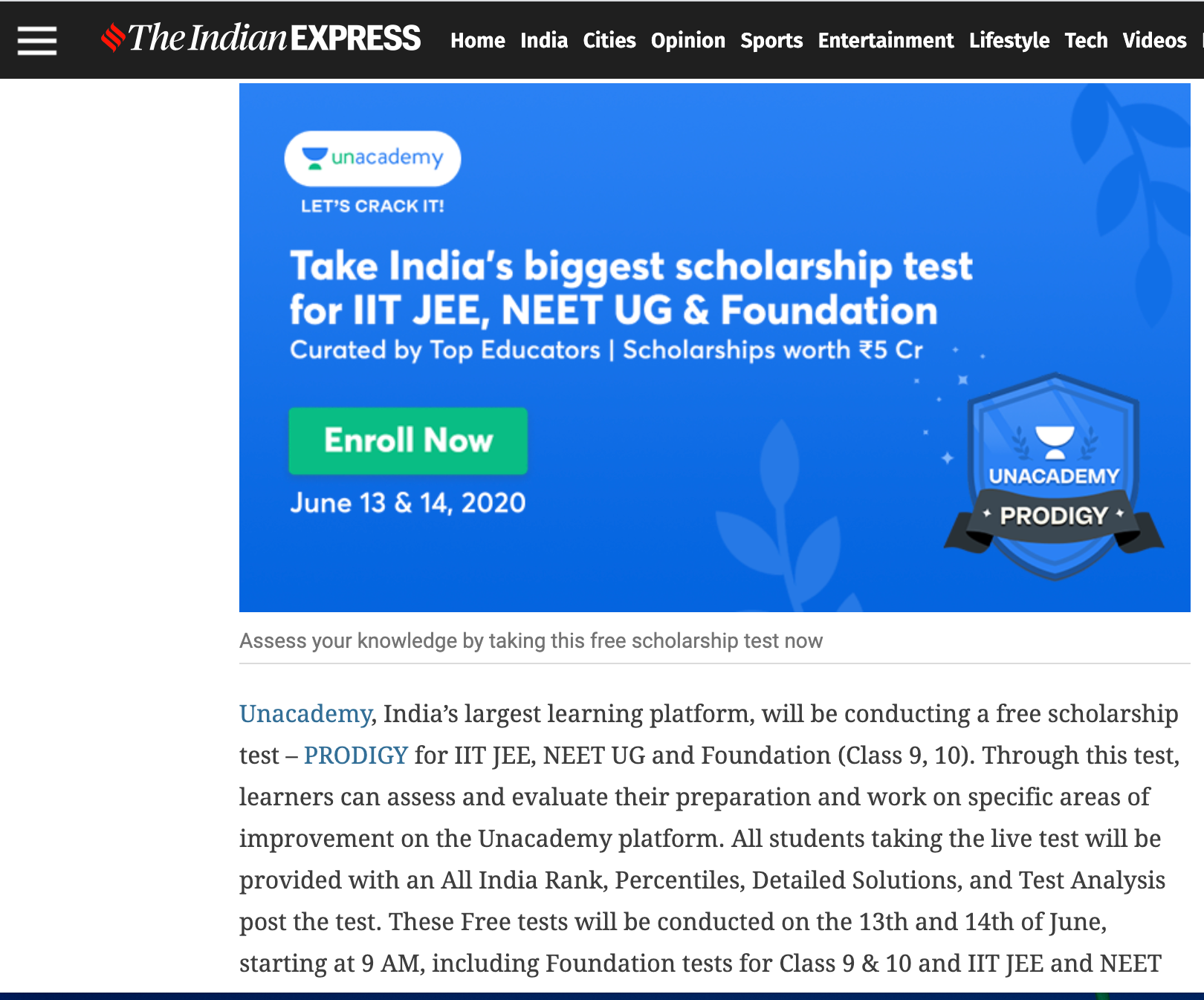 The Indian Express - Article Advertising Option 1