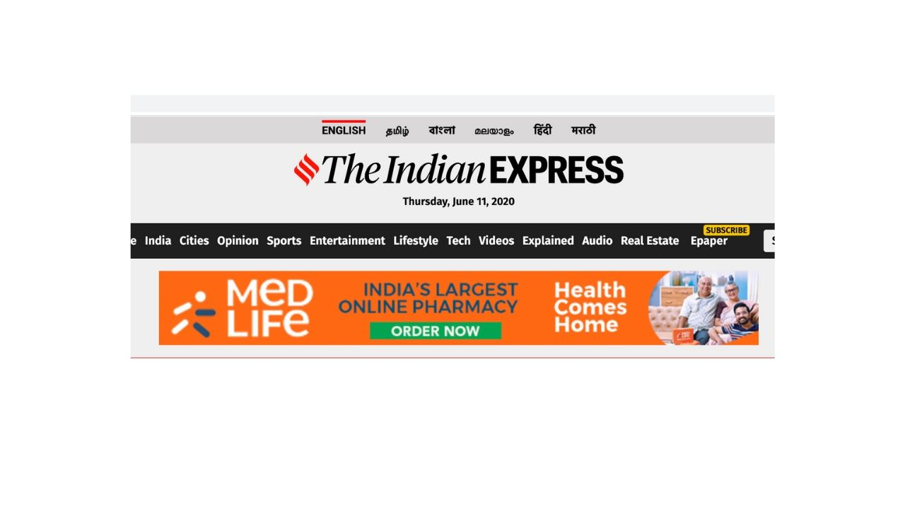 The Indian Express - Banner Advertising Option 1