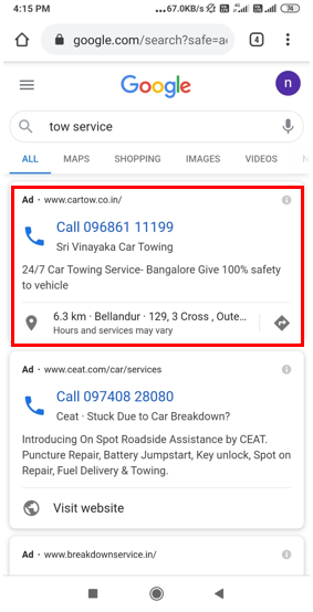 Google Search- Call Only Campaign Advertising-Option 1