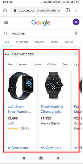 Google Search- Shopping Advertising-Option 1