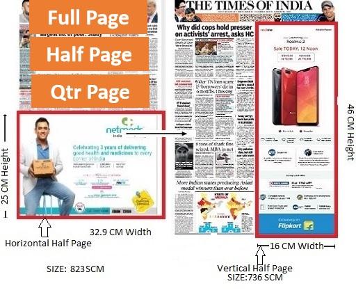 Times Of India, Mumbai, English Newspaper-Fixed Size Advertising - Half page