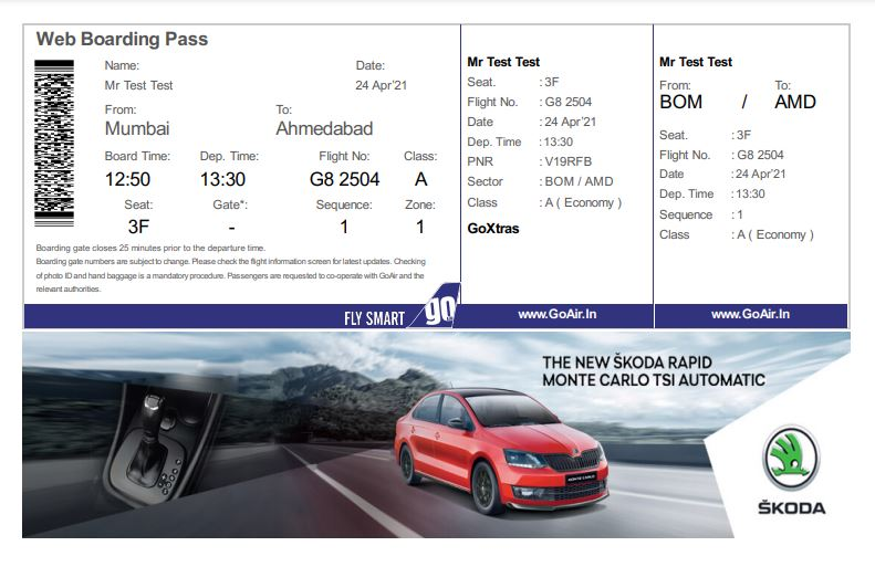 Go Air E Boarding /Online  Pass