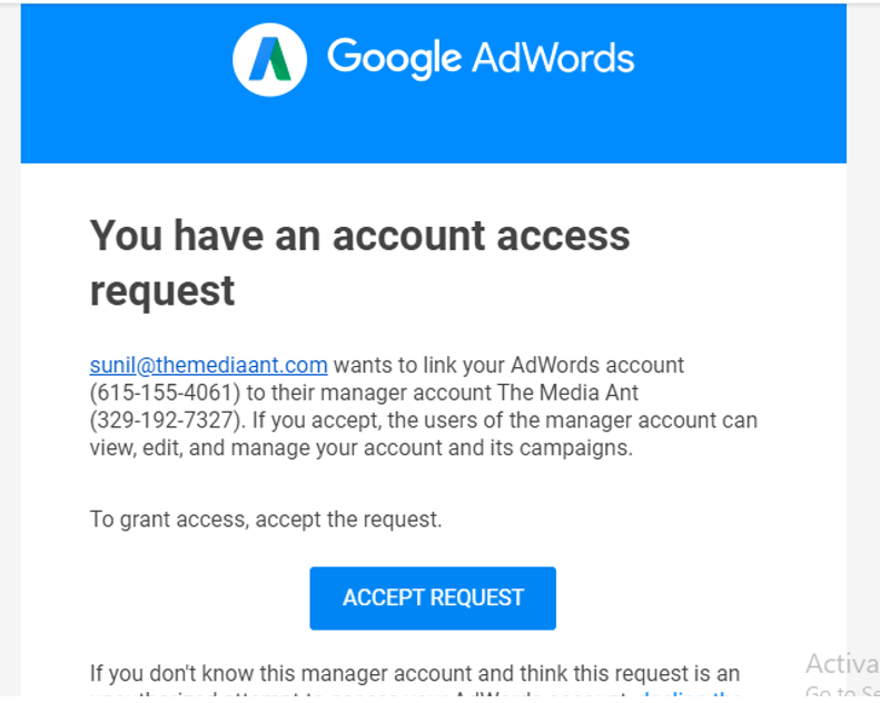 Google Search Advertising, Business Manager Access To Agency Step 3