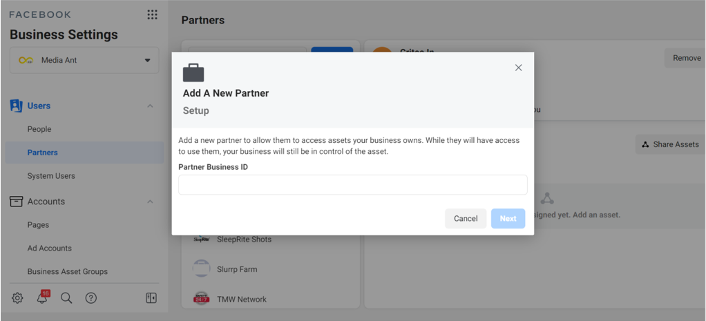 Facebook Advertising Business Manager Access To Agency Step 3